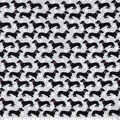 Snuggle Flannel Fabric-Black Dachshunds on Gray