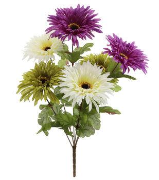 Blooming Autumn 16'' Spider Gerbera Daisy Bush-Cream, Purple & Green