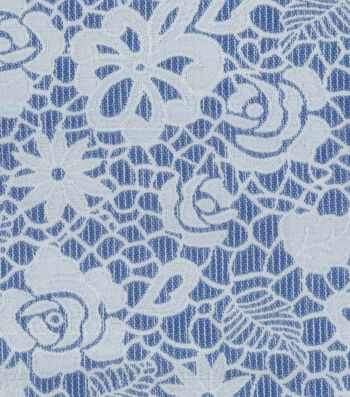 "Azure Collection Jacquard Fabric 53""-Reversible Floral Navy White"