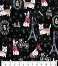 Premium Prints Cotton Fabric 43\u0022-Parisian Dogs on Black