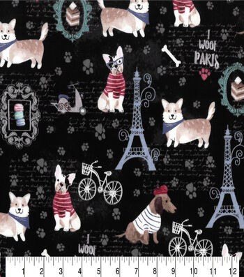 Premium Prints Cotton Fabric-Parisian Dogs on Black