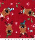 Anti-Pill Plush Fleece Fabric-Reindeer Faces Holiday
