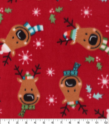 Anti-Pill Plush Fleece Fabric-Reindeer Faces Holiday
