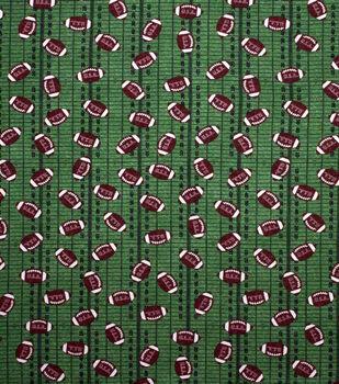 Super Snuggle Flannel Fabric-Footballs on Field