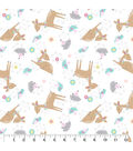 Nursery Flannel Fabric-Deer White Tossed