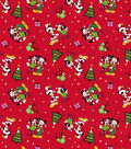 Mickey & Minnie Flannel Fabric-Home For The Holiday Red
