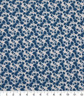Keepsake Calico Cotton Fabric-Navy Floral On Gray