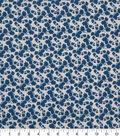 Keepsake Calico Cotton Fabric-Navy Floral On Gray