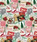 Christmas Cotton Fabric 43\u0022-Holiday Postage Stamps