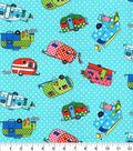 Novelty Cotton Fabric-Camping Trailers Aqua Dot