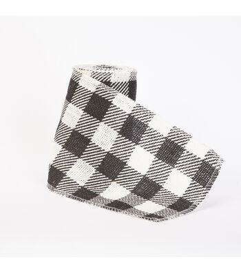 Maker's Holiday Burlap Ribbon 5.5''x15'-Black & White Buffalo Checks