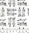 Soft & Comfy Fleece Fabric-Black & Gray Arrows on White