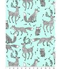 Nursery Flannel Fabric -Black & White Woodland Animals on Mint