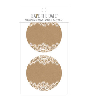 Save the Date 26 pk 3'' Round Adhesive Labels-Rustic