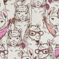 Snuggle Flannel Fabric -Stacked Sketched Llamas