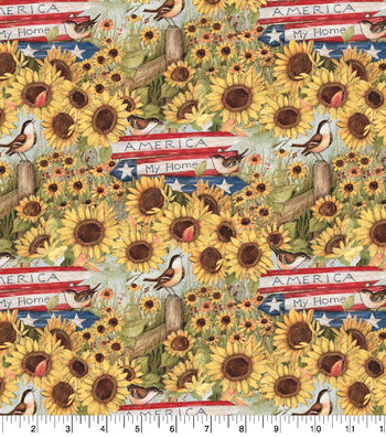 Patriotic Cotton Fabric-America My Heart My Home