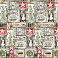 Christmas Cotton Fabric-Christmas Art on Wood