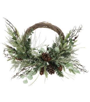 Handmade Holiday Christmas 5'' Eucalyptus, Pine, Pinecone & Vine Wreath