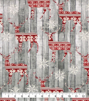 Super Snuggle Flannel Fabric-Fairisle Deer On Wood
