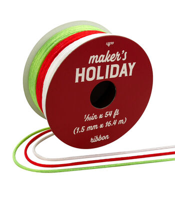 Maker's Holiday Christmas Satin Cord Ribbon 1/16''x54'-Red, White & Lime