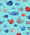 Snuggle Flannel Fabric -Happy Whales