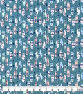 Snuggle Flannel Fabric-Pastel Feathers On Teal
