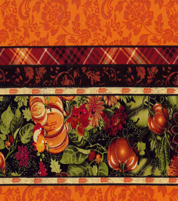 "Harvest Cotton Fabric 43""-Pumpkin Mum Burst Stripe Met"