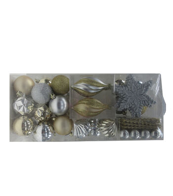 Maker's Holiday Christmas Boxed Ornaments-Silver & Gold