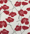 Knit Prints Rayon Spandex Fabric-White Red Poppies