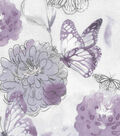 Keepsake Calico Cotton Fabric-Purple Watercolor Butterfly Floral