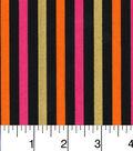 Halloween Cotton Fabric-Halloween Stripes Pink And Orange