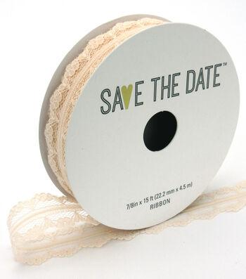 "Save the Date 7/8"" x 15ft Ribbon-Blush Lace"