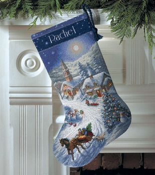 Dimensions Gold Counted Cross Stitch Kit Sleigh Ride At Dusk Stocking