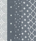 Fat Quarter Bundle Cotton Fabric 5-Pieces 18\u0027\u0027-Assorted Patterns On Gray