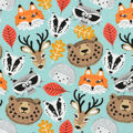 Super Snuggle Flannel Fabric-Stay Wild Animal Faces