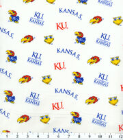 "University of Kansas Jayhawks Cotton Fabric 43""-White, , hi-res"