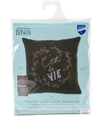 Vervaco iStitch 16''x16'' Stamped Embroidery Cushion Kit-C'est La Vie