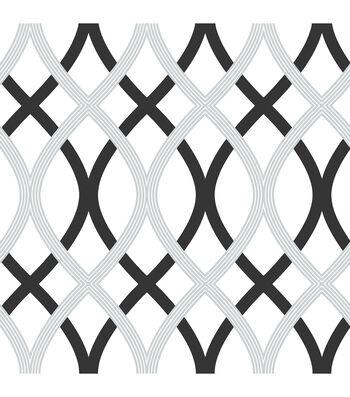 WallPops NuWallpaper Black and Silver Lattice Peel And Stick Wallpaper