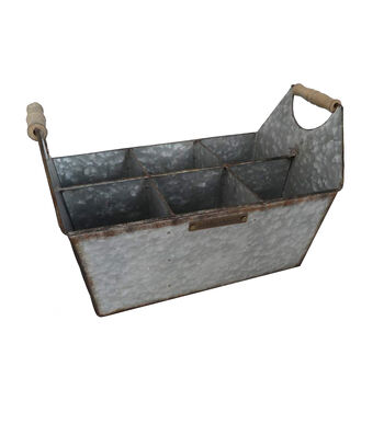 Bloom Room 6 Section Galvanized Metal Container with Handles