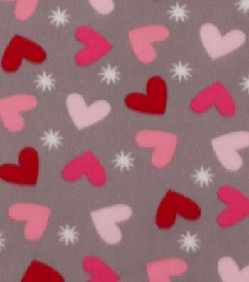 "Blizzard Fleece Fabric 59""-Sock Monkey Allover Heart"