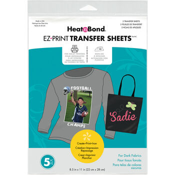 "HeatnBond EZ Print Transfer Sheet-8.5""X11"" 5/Pkg"