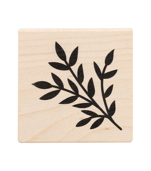 American Crafts Wooden Stamp Leaves