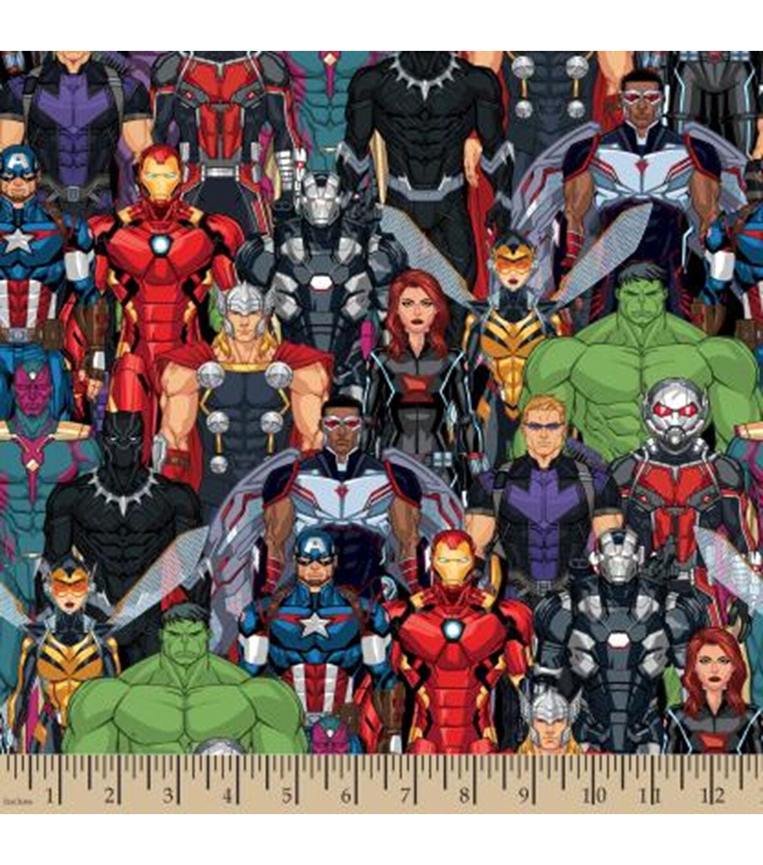 Marvel Avengers Action Smash Logos Superheroes 100/% Cotton Patchwork Fabric