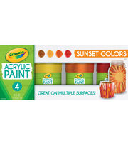 Crayola Acrylic Paint Set 4oz 4/Pkg-Sunset, , hi-res