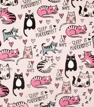 Super Snuggle Flannel Fabric-I Heart Cat Naps