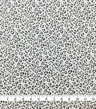 Doodles Cotton Interlock Fabric-White, Gray & Black Glitter Cheetah
