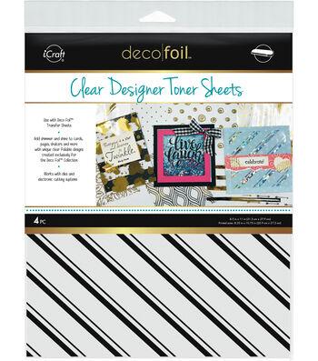 Deco Foil 4 pk 8.5''x11'' Clear Designer Toner Sheets-Pinstripes