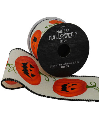 Maker's Halloween Ribbon 2.5''x12'-Jack-o'-lanterns on Ivory