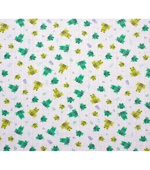 Super Snuggle Flannel Fabric-Frogs Tossed with Lines