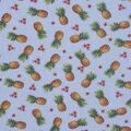 Novelty Cotton Fabric-Pineapples And Flowers Aqua
